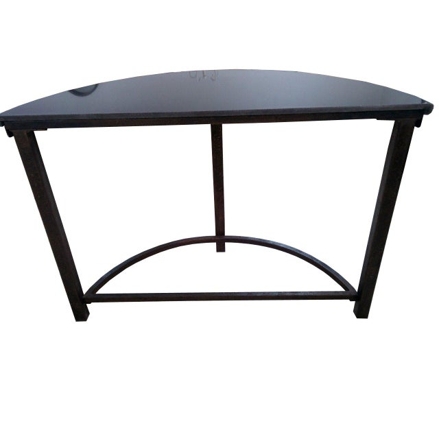 Contemporary Semi-Circle Metal Console Table with Marble Top For Sale - Image 3 of 10