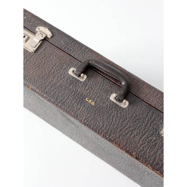 Vintage Black Leather Suitcase - Image 3 of 7