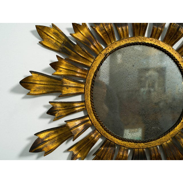 1990s Gilt Metal Sunburst Mirror For Sale - Image 5 of 8