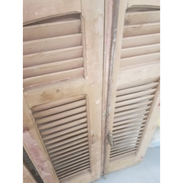 Antique Curved Wooden Shutters - Set of 4 For Sale In Dallas - Image 6 of 11