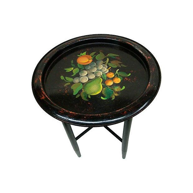hand painted fruit tole tray folding side table chairish. Black Bedroom Furniture Sets. Home Design Ideas