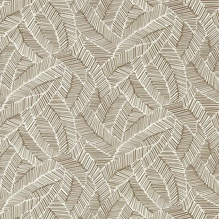 Sample - Schumacher Abstract Leaf Wallpaper in Mocha For Sale