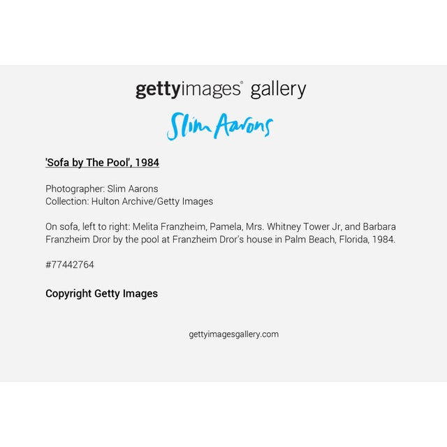 """Not Yet Made - Made To Order Slim Aarons, """"Sofa by the Pool,"""" January 1, 1984 Getty Images Gallery Framed Art Print For Sale - Image 5 of 5"""