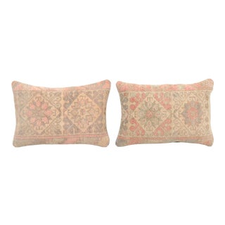 Handknotted Faded Turkish Lumbar Pillow Cover - a Pair For Sale
