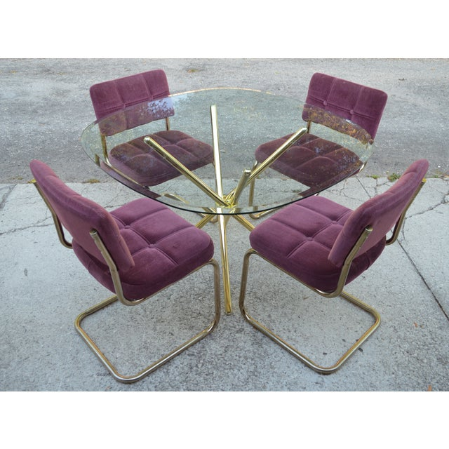 Vintage 70's Brass & Glass Table & Chairs - Image 2 of 8