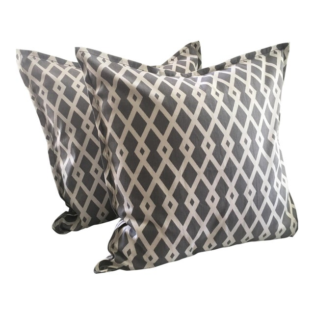 Gray Geometric Pillow Cases - A Pair For Sale