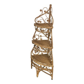 3-Tier Vintage Wicker Corner Shelf For Sale