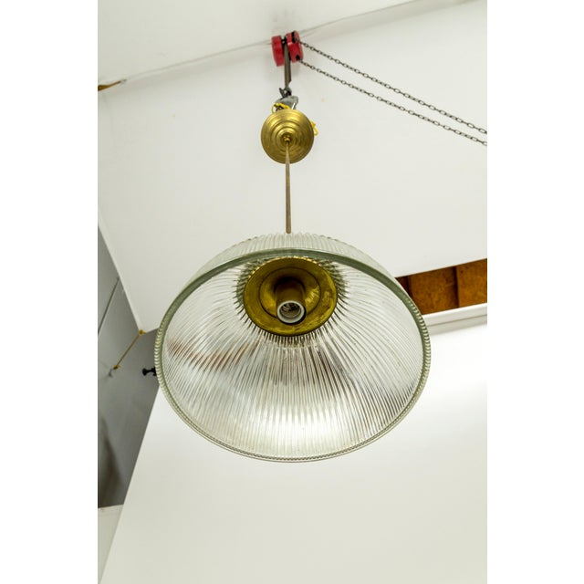 Large Holophane Glass & Brass Pendants - a Pair For Sale - Image 4 of 13