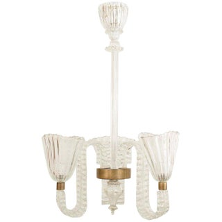 Italian 1940 Clear Glass Chandelier by Barovier E Toso For Sale