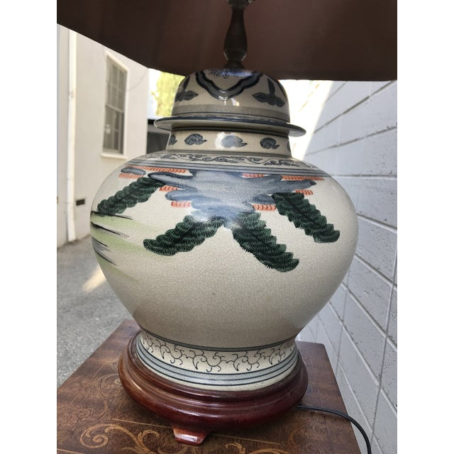 Antique Rare Chinoiserie Hand Painted Ginger Jar Lamp For Sale - Image 4 of 13
