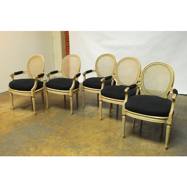 Louis XVI Style Cane Fauteuil Armchairs - Set of 5 For Sale - Image 4 of 10