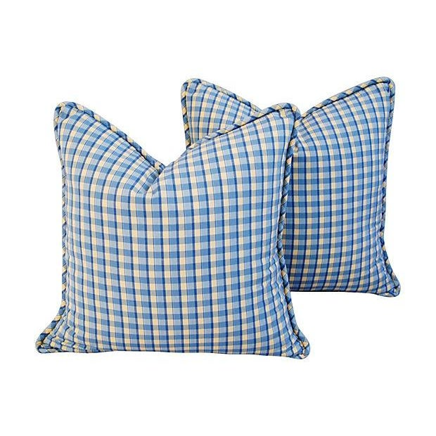 Custom-Made English Plaid Gingham Pillows - A Pair - Image 1 of 7
