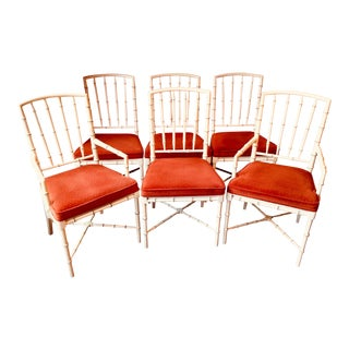 Vintage Mid Century Hollywood Regency Drexel Heritage Faux Bamboo Chairs- Set of 6 For Sale