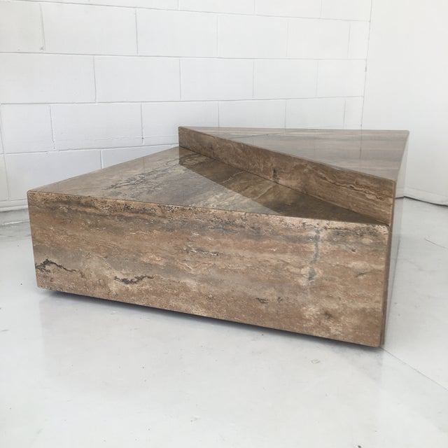 Italian Two Triangular Offset Stone Coffee Table - 2 Pieces For Sale In Los Angeles - Image 6 of 13