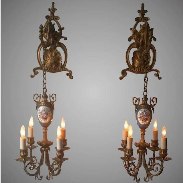 Pair of Beautiful Floral Pendant Lights or Sconces For Sale - Image 10 of 10