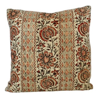 Vintage Jacobean Hand Blocked Pillow For Sale