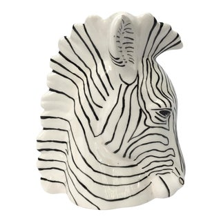 Sculptural Ceramic Zebra Head Vase
