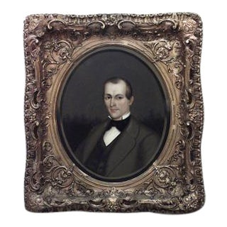 American Victorian gilt framed oval oil painting portrait of 19th Century man in brown suit