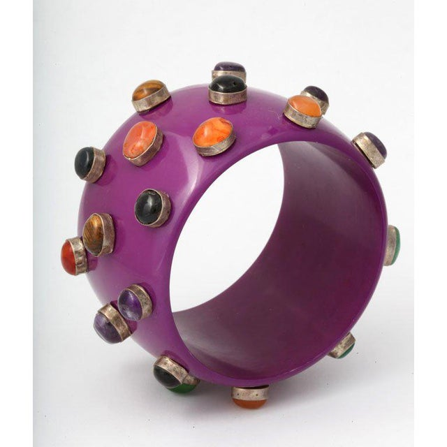 Mid-Century Modern Purple Bangle Bracelet For Sale - Image 3 of 8