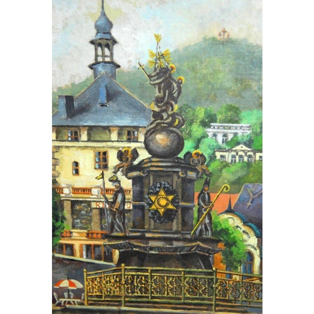 Bohemian Oil Painting of Carlsbad by Bernatova For Sale - Image 4 of 9