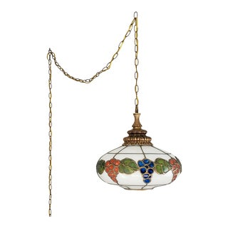 Mid-Century Ceiling Swag Lamp Hand Painted Glass Metal Overlay White Grape Leaves For Sale