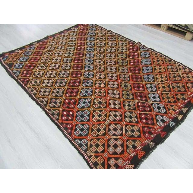 Turkish Kilim Embroidered Rug - 5′11″ × 7′11″ For Sale - Image 5 of 6