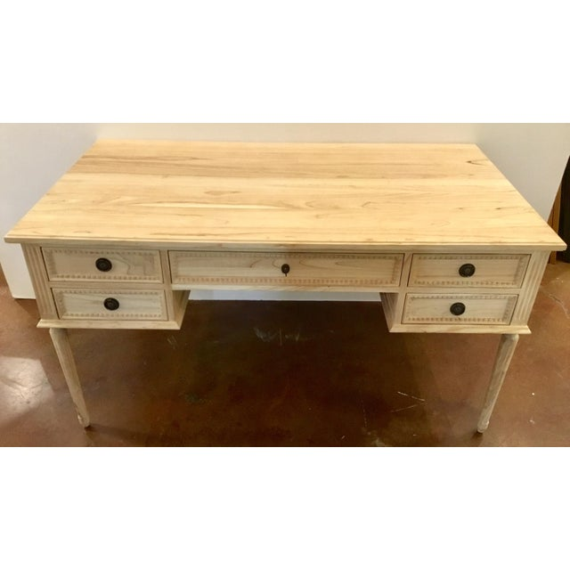 Stylish Ave Home transitional natural wood Colette writing desk, five drawers with decorative bronze metal hardware,...