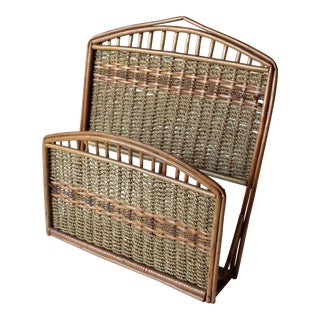 1970s Rattan Magazine Holder for Wall Mounting For Sale