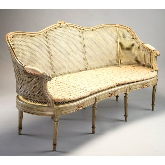 Caning Painted Louis XVI Style Large Caned Settee With Original Cushion For Sale - Image 7 of 11
