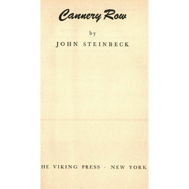 Cannery Row by John Steinbeck. New York: Viking Press. Book Club Edition. 181 pages. Hardcover in dust jacket.