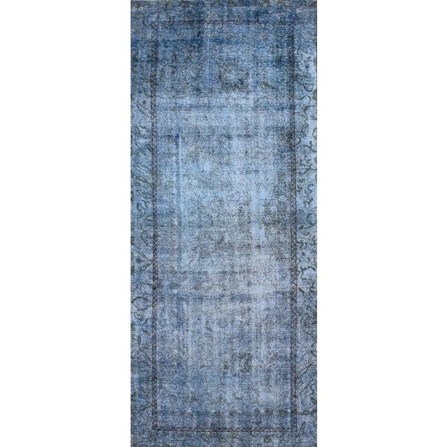 "Vintage Blue Overdyed Rug - 4'5"" x 12'1"" - Image 1 of 2"