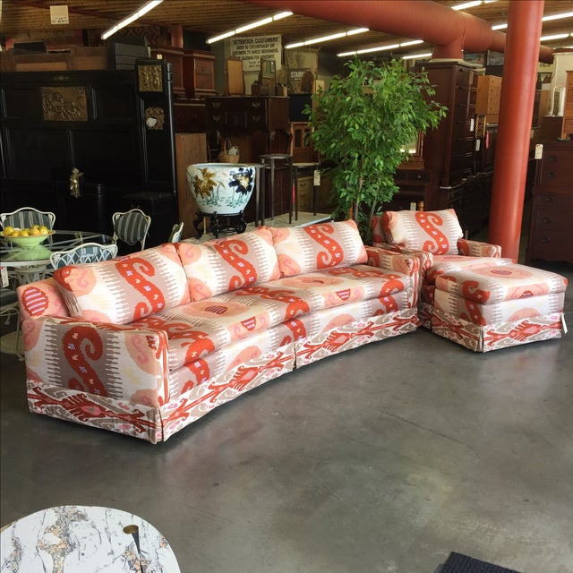 As classic as it gets for vintage Ikat. This sofa is from famed manufacturer Martin Brattrud (tags still attached with...
