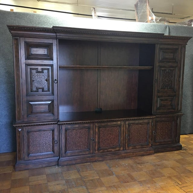 British Colonial Hardwood & Veneer Entertainment Console with Hutch Towers - Image 2 of 9