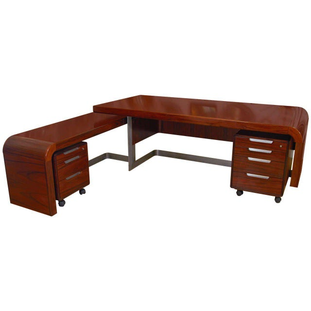 Metal Modern Custom Rosewood Executive Desk Suite For Sale - Image 7 of 7