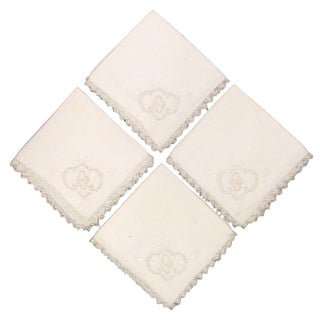 Embroidered Linen Napkins, Set of 4 For Sale