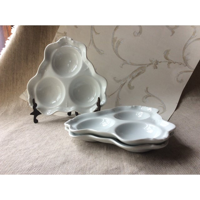 Antique Bistro Style Porcelain Oyster Plates - Set of 3 For Sale - Image 10 of 10