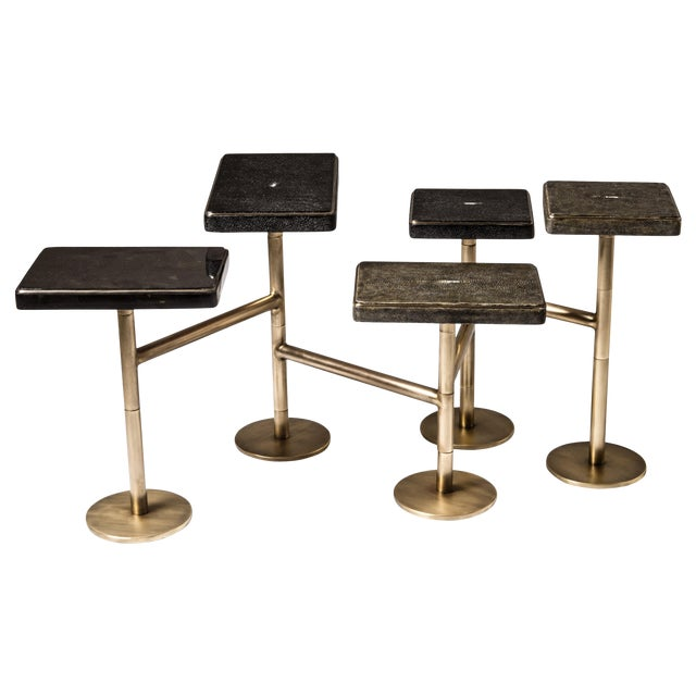 Rotating 5-Top Coffee Table in Shagreen & Bronze-Patina Brass by Kifu Paris For Sale
