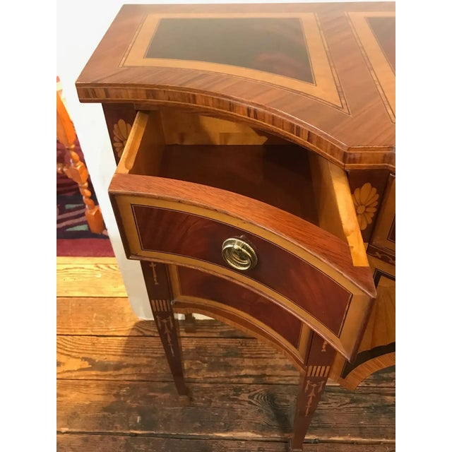 Mixed Wood Small Inlaid Regency Style Console Sideboard For Sale - Image 4 of 10