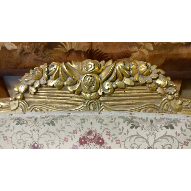 Wood 19th Century Beautiful Louis XV Carved Gilt & Tapestry Canopy Sofa For Sale - Image 7 of 10