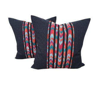 Mexican Navy Chevron Ikat Throw Pillows - a Pair For Sale