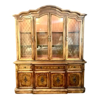 1970s Stanley Furniture China Cabinet in Pecan For Sale