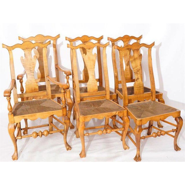 Brown Six Chippendale Style Tiger Maple Dining Chairs For Sale - Image 8 of 9