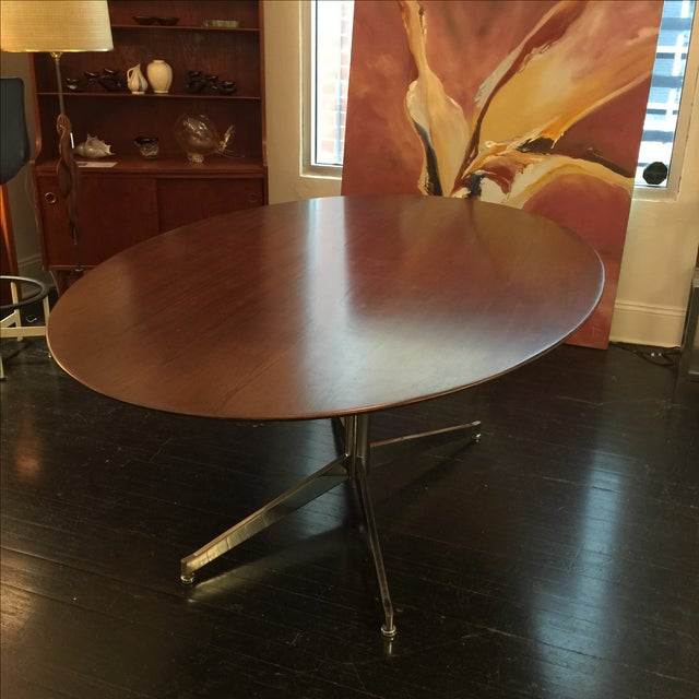 Florence Knoll Oval Solid Walnut Table - Image 4 of 8