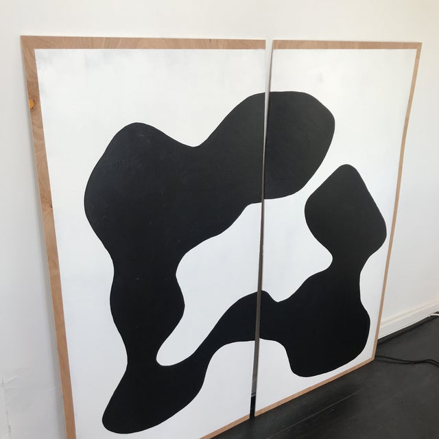Abstract Oversized Butterfly Black and White Monochrome Painting on Plywood - 2 Pieces For Sale - Image 3 of 6