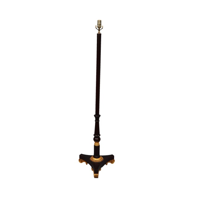 Vintage Darker Wood Stain Floor Lamp With Gold Color Scroll Tripod Feet For Sale