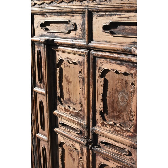Asian 19th Century Antique Rustic Northern Chinese Cabinet For Sale - Image 3 of 13