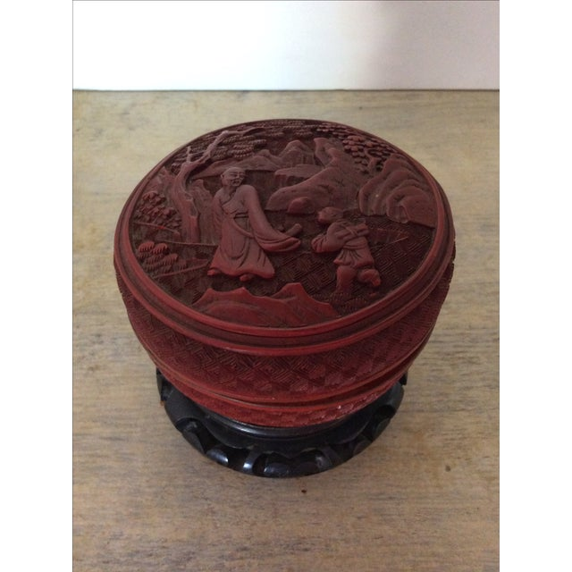 Vintage Hand Carved Red Japanese Box - Image 2 of 4