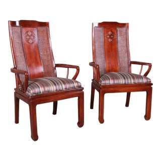 Bernhardt Mahogany and Cane Chinoiserie Armchairs - a Pair For Sale