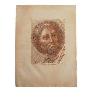 Large Antique 18th Century Sepia Etching of John the Baptist - Raphael - Elephant Folio For Sale
