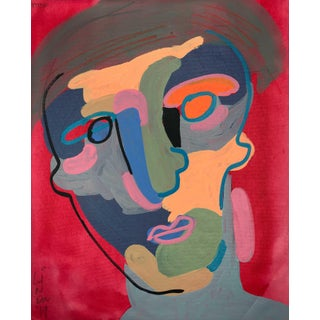 """Contemporary Abstract Portrait Painting """"a Lot Like This"""" - Framed For Sale"""